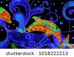 decorative lighting ... | Shutterstock . vector #1018222213