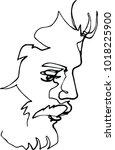 portrait of a man with a beard  ... | Shutterstock .eps vector #1018225900