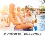group of happy friends making a ... | Shutterstock . vector #1018229818