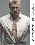 male fashion  beauty concept.... | Shutterstock . vector #1018236589