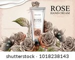 rose hand cream ads  exquisite... | Shutterstock .eps vector #1018238143
