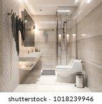 interior bathroom  studio mock... | Shutterstock . vector #1018239946