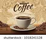 arabica coffee ads with a cup... | Shutterstock .eps vector #1018241128