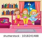 three girls eating snack in... | Shutterstock .eps vector #1018241488