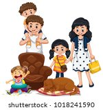 family members with parents and ... | Shutterstock .eps vector #1018241590