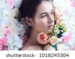beautiful brunette young woman... | Shutterstock . vector #1018245304