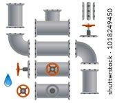 kit set of pipelines. isolated... | Shutterstock .eps vector #1018249450