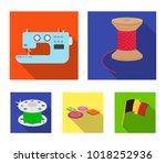 thread reel  sewing machine ...   Shutterstock .eps vector #1018252936