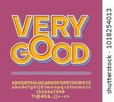 vector retro style alphabet.... | Shutterstock .eps vector #1018254013