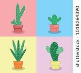 cactus collection flat vector... | Shutterstock .eps vector #1018264390