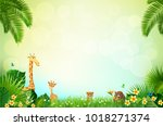 jungle or zoo themed animal... | Shutterstock .eps vector #1018271374