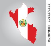 flag map of peru | Shutterstock .eps vector #1018271833