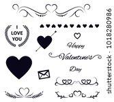 valentine's vector doodle set | Shutterstock .eps vector #1018280986