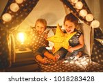 happy family loving children... | Shutterstock . vector #1018283428