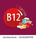 vitamin b12. food sources.... | Shutterstock .eps vector #1018284958