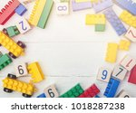 top view on cubes with numbers | Shutterstock . vector #1018287238