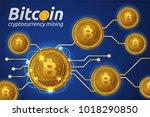 golden bitcoin in shining light ...   Shutterstock .eps vector #1018290850