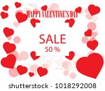 valentines day sale background... | Shutterstock .eps vector #1018292008