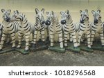 zebra clay statue at the temple. | Shutterstock . vector #1018296568