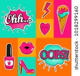 fashion patch badges with lips  ... | Shutterstock . vector #1018299160