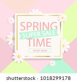 spring sale on geometric... | Shutterstock . vector #1018299178