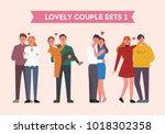 lovely couple character set.... | Shutterstock .eps vector #1018302358