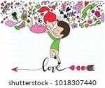 love theme with happy couple... | Shutterstock .eps vector #1018307440