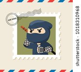 ninja postage stamp on air mail ... | Shutterstock .eps vector #1018310968