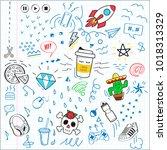 doodle sketch letter pattern....   Shutterstock .eps vector #1018313329