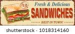 vintage sandwiches  metal sign. | Shutterstock .eps vector #1018314160