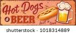 vintage hot dogs and beer metal ... | Shutterstock .eps vector #1018314889