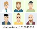 men flat avatars set with... | Shutterstock .eps vector #1018315318