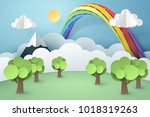 paper art of forest and rainbow ... | Shutterstock .eps vector #1018319263