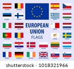 european union flags eu... | Shutterstock .eps vector #1018321966