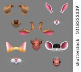 animal ears and noses. vector... | Shutterstock .eps vector #1018333339