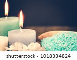 spa candle and salt. cosmetic... | Shutterstock . vector #1018334824