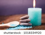 spa salt  candle and stone...   Shutterstock . vector #1018334920