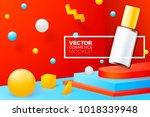 vector 3d realistic abstract... | Shutterstock .eps vector #1018339948