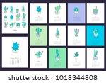 2018 cactus calendar. | Shutterstock .eps vector #1018344808