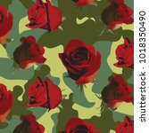 Stock vector fashionable camouflage pattern with red roses with green leaves 1018350490