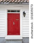 red door in old european house | Shutterstock . vector #101835073