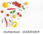ingredients for cooking pasta... | Shutterstock . vector #1018351819