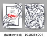 tropical palm leaves background.... | Shutterstock .eps vector #1018356004