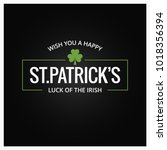 patrick day logo on dark... | Shutterstock .eps vector #1018356394