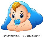 funny baby and pacifier lying...   Shutterstock .eps vector #1018358044