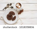 cup of hot chocolate with... | Shutterstock . vector #1018358836