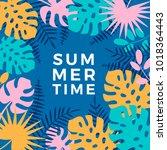 summer hawaiian tropical poster ... | Shutterstock .eps vector #1018364443