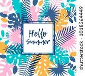 summer hawaiian tropical poster ... | Shutterstock .eps vector #1018364449