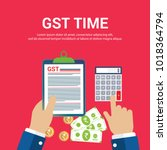 gst. good and services tax... | Shutterstock .eps vector #1018364794