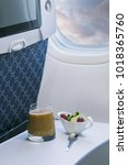 airline meal served in the... | Shutterstock . vector #1018365760